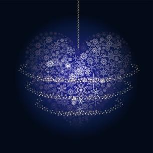 クリスマスのイメージの背景イラスト|雪の結晶で描いたハート|Merry Christmasのイラスト素材 [FYI00889978]
