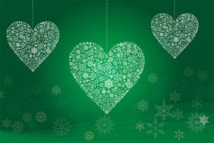 クリスマスのイメージの背景イラスト|雪の結晶で描いた3連のハート|Merry Christmasのイラスト素材 [FYI00889980]