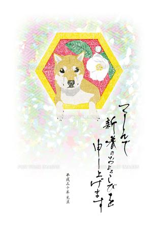 2018年賀状戌年版画柴犬亀甲椿つつしんで新春のおよろこびを