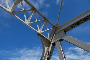 晴れた青空と鉄橋の鉄骨の写真素材 [FYI00890150]
