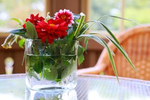 テーブルの上の花の飾り付けの写真素材 [FYI00890151]