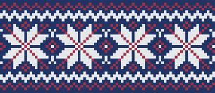 ドットで描いた雪の結晶の模様|セーター柄|クリスマスイメージのイラスト素材 [FYI00890307]