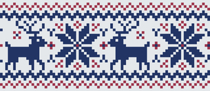 ドットで描いた雪の結晶とトナカイの模様|セーター柄|クリスマスイメージのイラスト素材 [FYI00890311]
