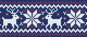 ドットで描いた雪の結晶とトナカイの模様|セーター柄|クリスマスイメージのイラスト素材 [FYI00890312]