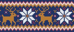 ドットで描いた雪の結晶とトナカイの模様|セーター柄|クリスマスイメージのイラスト素材 [FYI00890313]