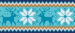 ドットで描いた雪の結晶とトナカイの模様|セーター柄|クリスマスイメージのイラスト素材 [FYI00890314]