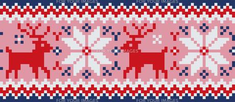 ドットで描いた雪の結晶とトナカイの模様|セーター柄|クリスマスイメージのイラスト素材 [FYI00890315]