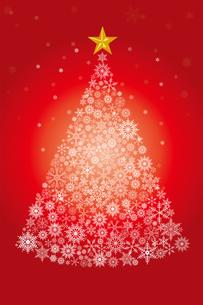 雪の結晶で描いたクリスマスツリーのイラスト|赤|Merry Christmasのイラスト素材 [FYI00890330]