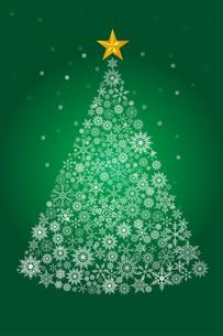 雪の結晶で描いたクリスマスツリーのイラスト|緑|Merry Christmasのイラスト素材 [FYI00890331]