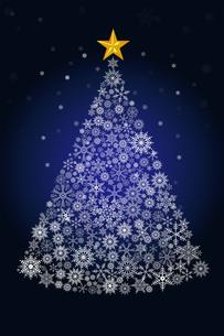 雪の結晶で描いたクリスマスツリーのイラスト|濃紺|Merry Christmasのイラスト素材 [FYI00890332]
