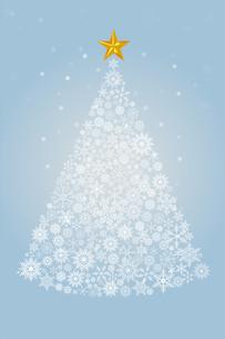 雪の結晶で描いたクリスマスツリーのイラスト|ライトブルー|Merry Christmasのイラスト素材 [FYI00890333]