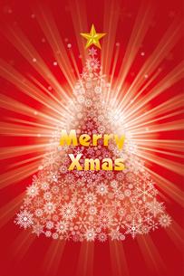 雪の結晶で描いたクリスマスツリーのイラスト|赤|Merry Christmasのイラスト素材 [FYI00890334]