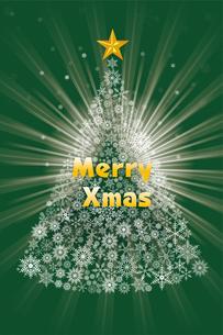 雪の結晶で描いたクリスマスツリーのイラスト|緑|Merry Christmasのイラスト素材 [FYI00890335]