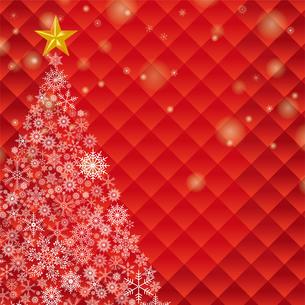クリスマスのイメージの背景イラスト|赤|雪の結晶で描いたクリスマスツリー|Merry Christmasのイラスト素材 [FYI00890656]