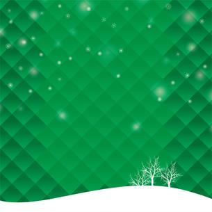 クリスマスのイメージの背景イラスト|樹氷の風景|緑色|雪とオーナメント|Merry Christmasのイラスト素材 [FYI00890661]