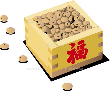 節分の豆と升のイラスト素材 [FYI00890750]