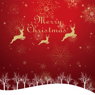 クリスマスのイメージ背景画像|夜景 赤 雪の結晶と樹氷の風景とトナカイのイラスト素材 [FYI00890898]