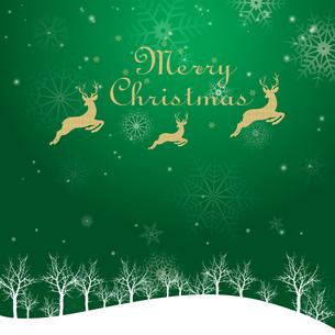 クリスマスのイメージ背景画像|夜景 緑色 雪の結晶と樹氷の風景とトナカイのイラスト素材 [FYI00890899]