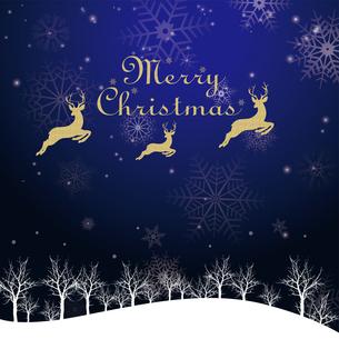 クリスマスのイメージ背景画像|夜景 紺色 雪の結晶と樹氷の風景とトナカイのイラスト素材 [FYI00890900]