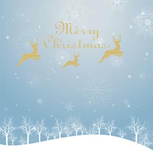 クリスマスのイメージ背景画像|夜景 水色 雪の結晶と樹氷の風景とトナカイのイラスト素材 [FYI00890901]