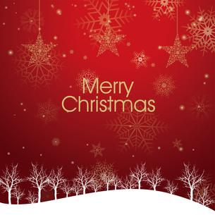 クリスマスのイメージ背景画像|夜景 赤 雪の結晶と樹氷の風景と星のオーナメントのイラスト素材 [FYI00890902]