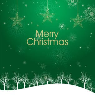 クリスマスのイメージ背景画像|夜景 緑色 雪の結晶と樹氷の風景と星のオーナメントのイラスト素材 [FYI00890903]