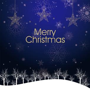 クリスマスのイメージ背景画像|夜景 紺色 雪の結晶と樹氷の風景と星のオーナメントのイラスト素材 [FYI00890904]