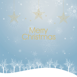 クリスマスのイメージ背景画像|夜景 水色 雪の結晶と樹氷の風景と星のオーナメントのイラスト素材 [FYI00890905]