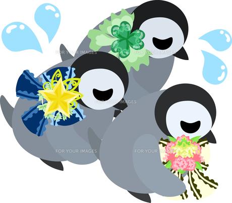 おしゃれで可愛い赤ちゃんペンギンのイラストのイラスト素材 [FYI00891018]