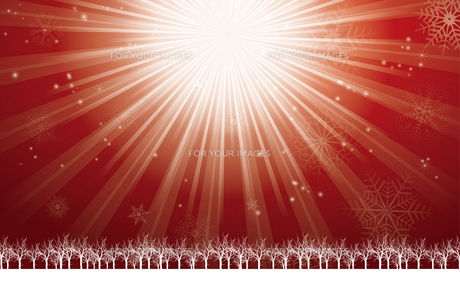 クリスマスのイメージ背景画像~光の放射~ 赤色 雪の結晶の天の川と樹氷 Christmas imageのイラスト素材 [FYI00891441]