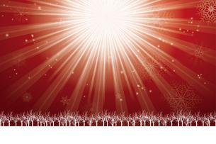 クリスマスのイメージ背景画像~光の放射~|赤色 雪の結晶の天の川と樹氷|Christmas imageのイラスト素材 [FYI00891441]