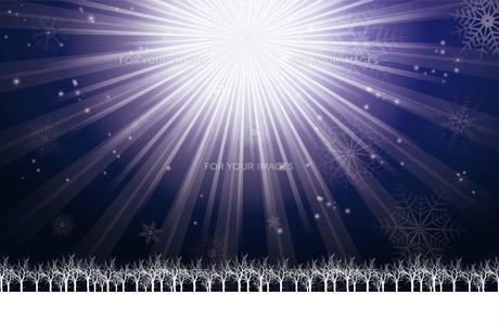 クリスマスのイメージ背景画像~光の放射~ 紺色 雪の結晶の天の川と樹氷 Christmas imageのイラスト素材 [FYI00891442]