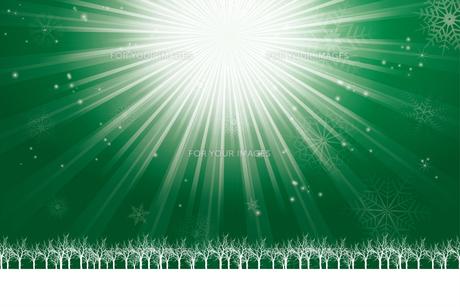 クリスマスのイメージ背景画像~光の放射~ 緑色 雪の結晶の天の川と樹氷 Christmas imageのイラスト素材 [FYI00891443]
