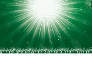 クリスマスのイメージ背景画像~光の放射~|緑色 雪の結晶の天の川と樹氷|Christmas imageのイラスト素材 [FYI00891443]