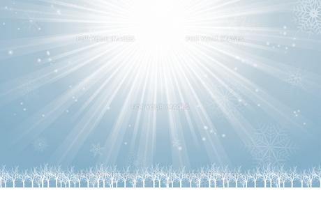 クリスマスのイメージ背景画像~光の放射~ 水色 雪の結晶の天の川と樹氷 Christmas imageのイラスト素材 [FYI00891444]
