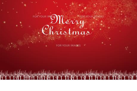 クリスマスのイメージ背景画像+ロゴ 赤色 雪の結晶の天の川と樹氷 Christmas imageのイラスト素材 [FYI00891445]