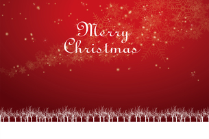クリスマスのイメージ背景画像+ロゴ|赤色 雪の結晶の天の川と樹氷|Christmas imageのイラスト素材 [FYI00891445]