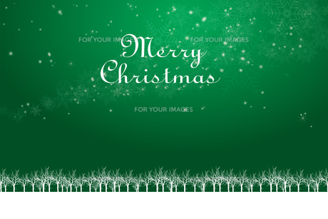 クリスマスのイメージ背景画像+ロゴ 緑色 雪の結晶の天の川と樹氷 Christmas imageのイラスト素材 [FYI00891446]