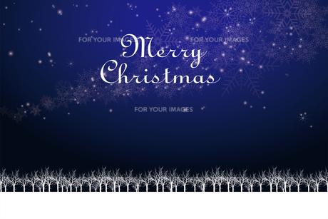クリスマスのイメージ背景画像+ロゴ 紺色 雪の結晶の天の川と樹氷 Christmas imageのイラスト素材 [FYI00891447]