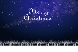 クリスマスのイメージ背景画像+ロゴ|紺色 雪の結晶の天の川と樹氷|Christmas imageのイラスト素材 [FYI00891447]