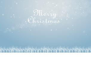 クリスマスのイメージ背景画像+ロゴ|水色 雪の結晶の天の川と樹氷|Christmas imageのイラスト素材 [FYI00891448]