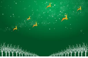 クリスマスのイメージ背景画像|緑色 雪の結晶の天の川と樹氷とトナカイ|Christmas imageのイラスト素材 [FYI00891449]