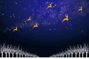 クリスマスのイメージ背景画像|紺色 雪の結晶の天の川と樹氷とトナカイ|Christmas imageのイラスト素材 [FYI00891450]
