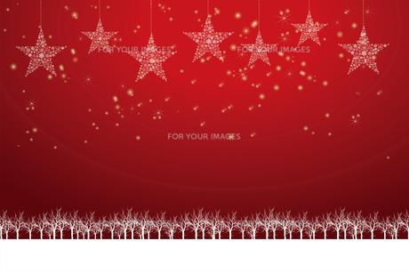 クリスマスのイメージ背景画像 赤色 雪の結晶の星のオーナメントと樹氷とトナカイ Christmas imageのイラスト素材 [FYI00891452]
