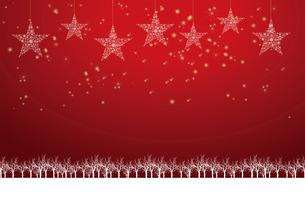 クリスマスのイメージ背景画像|赤色 雪の結晶の星のオーナメントと樹氷とトナカイ|Christmas imageのイラスト素材 [FYI00891452]