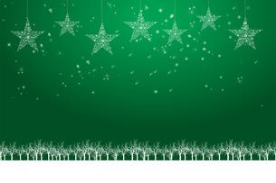 クリスマスのイメージ背景画像|緑色 雪の結晶の星のオーナメントと樹氷とトナカイ|Christmas imageのイラスト素材 [FYI00891453]
