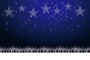 クリスマスのイメージ背景画像|紺色 雪の結晶の星のオーナメントと樹氷とトナカイ|Christmas imageのイラスト素材 [FYI00891454]