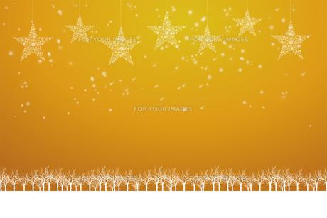 クリスマスのイメージ背景画像|金色 雪の結晶の星のオーナメントと樹氷とトナカイ|Christmas imageのイラスト素材 [FYI00891456]