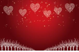 クリスマスのイメージ背景画像|赤色 雪の結晶のハートのオーナメントと樹氷とトナカイ|Christmas imageのイラスト素材 [FYI00891457]