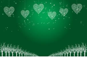 クリスマスのイメージ背景画像|緑色 雪の結晶のハートのオーナメントと樹氷とトナカイ|Christmas imageのイラスト素材 [FYI00891458]